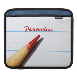 Red Teacher Pencil On Lined Paper With Name iPad Sleeves