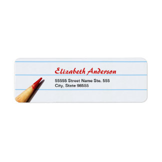 Red Teacher Pencil On Lined Paper With Name Label