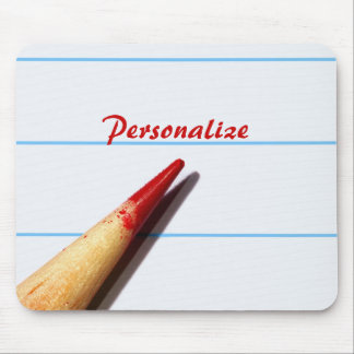 Red Teacher Pencil On Lined Paper With Name Mouse Pad