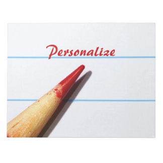 Red Teacher Pencil On Lined Paper With Name Note Pad