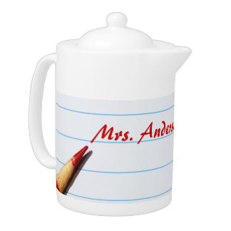 Red Teacher Pencil On Lined Paper With Name Teapot