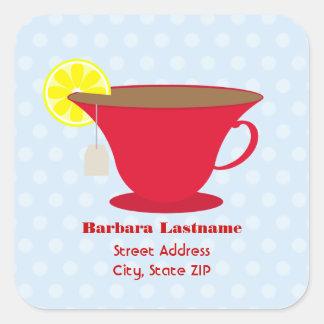 Red Teacup / Light Blue Address Sticker