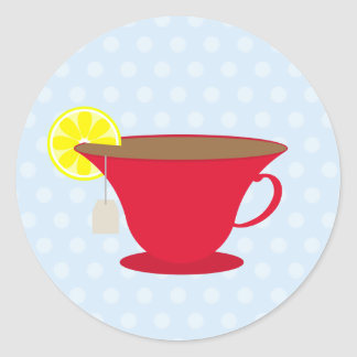 Red Teacup / Light Blue Classic Round Sticker