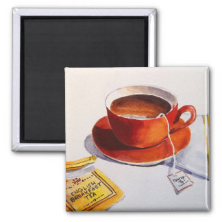 Red Teacup with Teabag 2 Inch Square Magnet