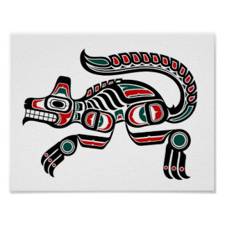 Red Teal and Black Haida Spirit Wolf Poster