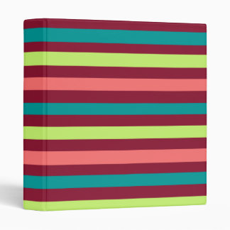 """Red Teal and Salmon Striped 1"""" Binder"""