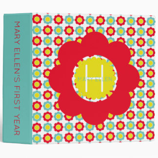 Red Teal and Yellow Flowers on White Monogram 3 Ring Binder