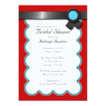 "Red & Teal, Black Ribbon Bridal Shower Invitations 5"" X 7"" Invitation Card"