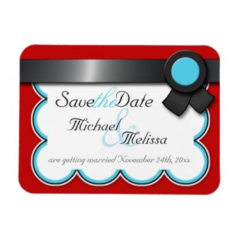 Red Teal Black Ribbon Wedding Reception Menu
