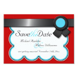 Red & Teal, Black Ribbon Save the Date Announcement