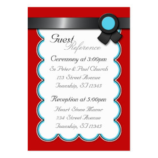 Red, Teal & Black Wedding Guest Reference Cards