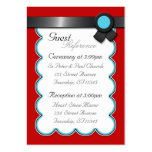 Red, Teal & Black Wedding Guest Reference Cards Large Business Cards (Pack Of 100)