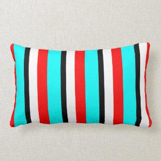 Red Teal Black White Stripe Lumbar Pillow