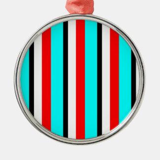 Red Teal Black White Stripe Metal Ornament