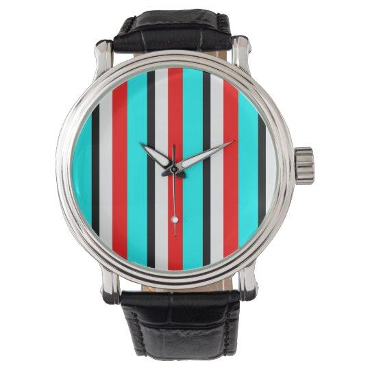 Red Teal Black White Stripe Wrist Watch