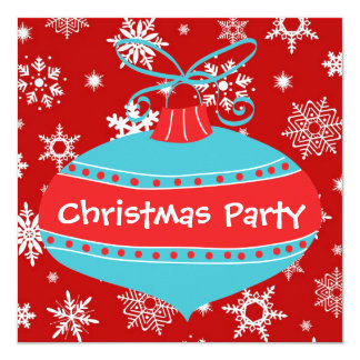 Red Teal Blue Retro Christmas Party Card