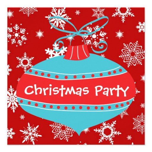 Red Teal Blue Retro Christmas Party 5.25x5.25 Square Paper ...