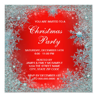 Red Teal Blue Snowflake Christmas Party Card