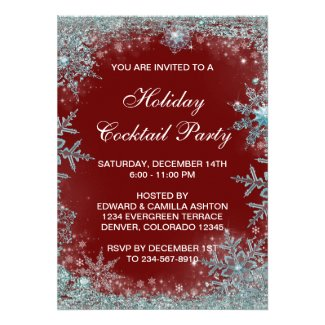 Red Teal Blue Snowflake Christmas Party Personalized Invitation
