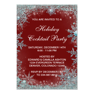 Red Teal Blue Snowflake Christmas Party 5x7 Paper Invitation Card