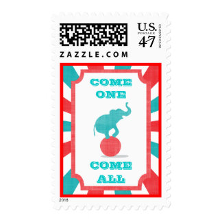 Red | Teal Carnival Party Big Top Postage
