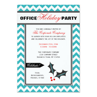 Red & Teal Chevron Office Holiday Party Invitation