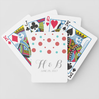 Red Teal Confetti Playing Cards