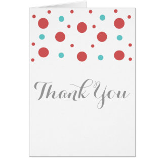 Red Teal Confetti Thank You Card