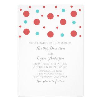 Red Teal Confetti Wedding Invite
