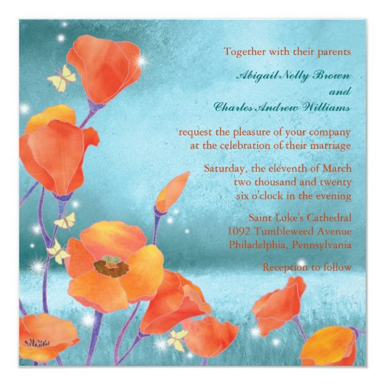 Red & Teal Dreaming Poppy Wedding Invitation