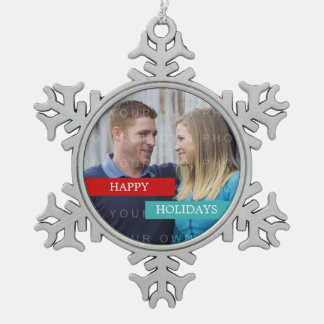 Red Teal Modern Photo Snowflake Ornament