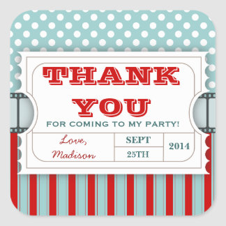 Red | Teal Movie Ticket Birthday Thank You Sticker