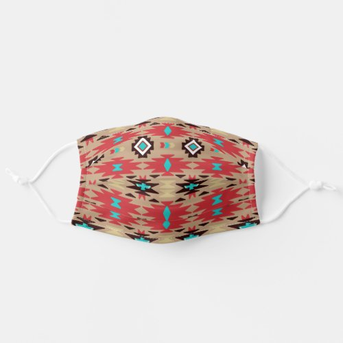 Red Teal Native American Vision Pattern Cloth Face Mask