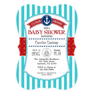 Red Teal Nautical Baby Shower Invitation