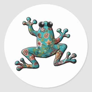 Red Teal Paisley Frog Classic Round Sticker