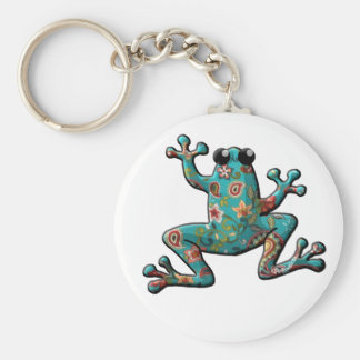 Red Teal Paisley Frog Keychain