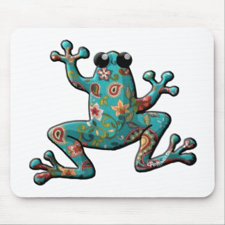 Red Teal Paisley Frog Mouse Pad