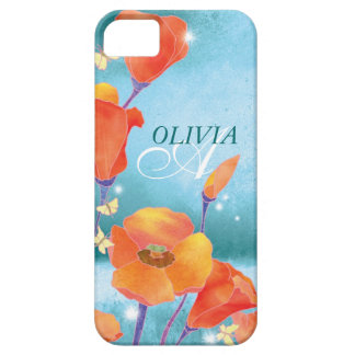 Red Teal Poppy Floral Monogram iPhone 5 Case-Mate iPhone 5 Cases