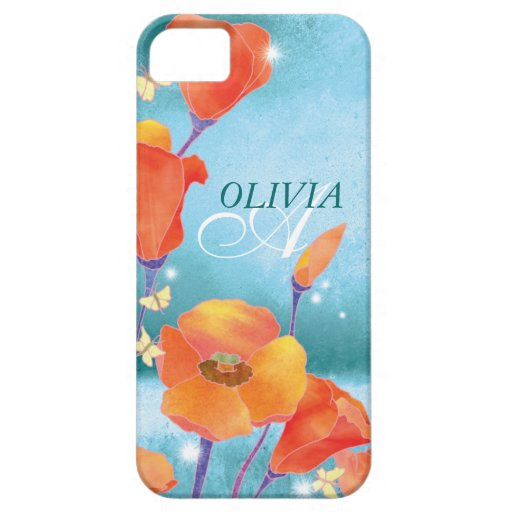 Red Teal Poppy Floral Monogram iPhone 5 Case-Mate iPhone SE/5/5s Case