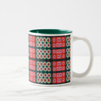 Red Teal Star Pattern Two-Tone Coffee Mug