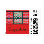 Red Teal Tile Congratulations Postage