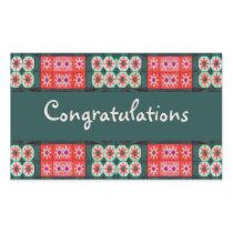 Red Teal Tile Congratulations Rectangular Sticker