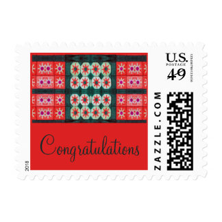Red Teal Tile Congratulations Stamp