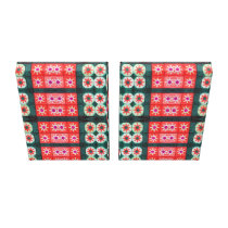Red Teal Tile Pattern Abstract Canvas Print