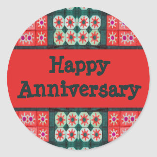 Red Teal Tile Pattern Happy Anniversary Classic Round Sticker