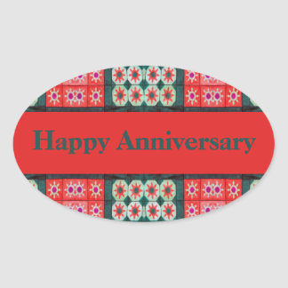 Red Teal Tile Pattern Happy Anniversary Oval Sticker