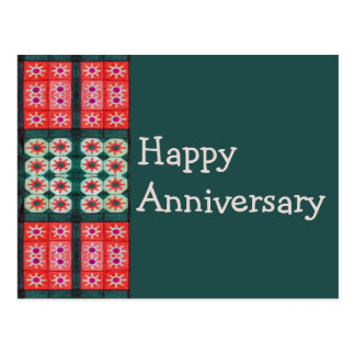 Red Teal Tile Pattern Happy Anniversary Postcard