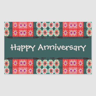 Red Teal Tile Pattern Happy Anniversary Rectangular Sticker