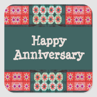 Red Teal Tile Pattern Happy Anniversary Sticker