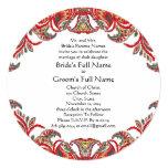"Red & Teal Vintage Paisley Damask Wedding Invites 5.25"" Square Invitation Card"